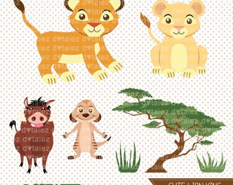 Cute Lion King, simba, nala, timon, pumba, lion king clipart, lion king inspired