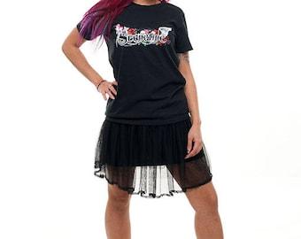 "Darktribe ""Sceneline"" Girly Shirt Gr. S, M & L black Women unicorn skull candy rainbow"