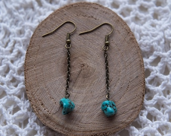 Turquoise Stone Dangly Earrings