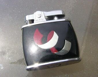 Vintage Chrome Pocket Lighter Automatic Cigarette Lighter Black Red Inlaid Ribbon Vintage Smoking Accessories Tobacciana by Hilton