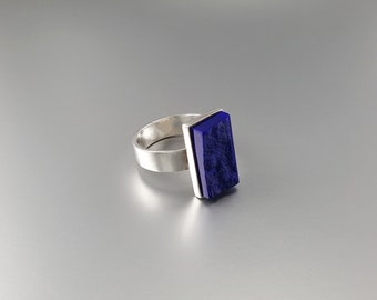 Raw stone royal blue Lapis Lazuli ring with Sterling silver - gift idea - rectangle shape - AAA Grade afghan Lapis - natural stone