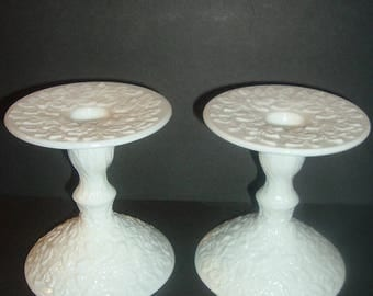 Pair Westmoreland Glass Maple Leaf White Milkglass Candlesticker Candle Holders