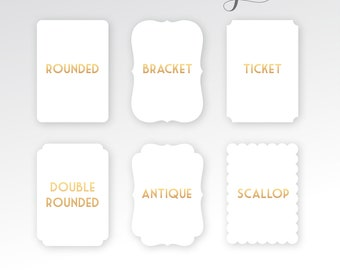 Die Cut Cards . Bracket Antique Double Rounded Scallop Ticket Shaped Card Stock . Various Sizes Paper Options Metallic Pearl Luxe Cotton