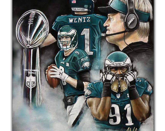 Philadelphia Ealges - Super Bowl 52 - Artwork - Fletcher Cox - Super Bowl - Nick Foles - MVP - Carson Wentz - Man Cave