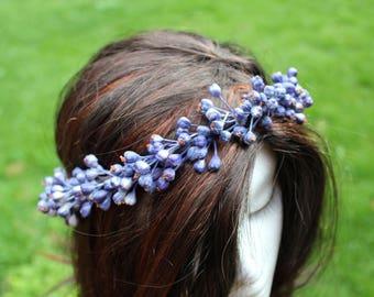 Blueberry Flower Crown, floral crown, flower crown, blue flower crown, wildberries crown, berries crown, blueberry wreath