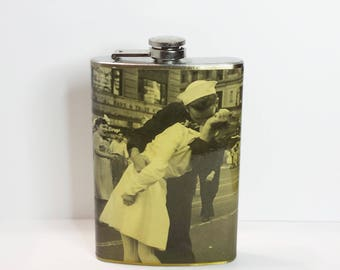 Classic WWII Kiss 8 oz stainless steel flask