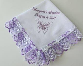 Personalized Baptism handkerchief hanky hankie christening favors christening hankerchief butterfly Baptism hankie Baptism Gift for Godchild