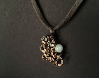 Moonstone Copper Wrapped Pendant Necklace