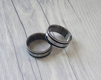 stainless steel ring with black rubber bands basic ring jewelry menu0027s rings handmade