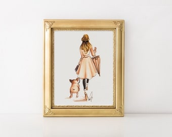Girl with French Bulldog, Girl and French Bulldog, French Bulldog art, Fashion illustration, Fashion wall art, Frenchie art, Frenchie print