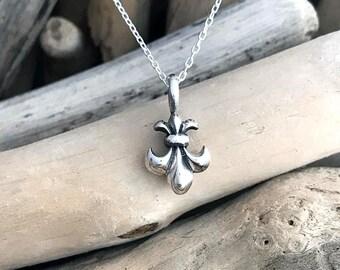 Silver Fleur de Lis - French Lily Flower - Coat of Arms - Iris - New Orleans jewelry - Saints Necklace-  Pendant Necklace VAR055