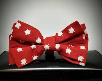 Handmade Maple Leave Pattern Bow Tie