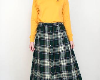 Women's Vintage Tartan Plaid Green Pleated Button Down Warm Fall Winter Holiday Maxi Skirt - Small