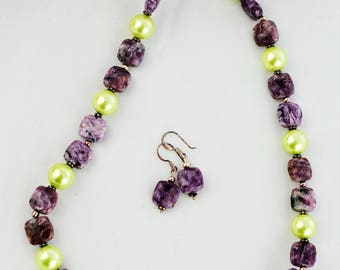 Purple necklace Lime necklace Gemstone jewellery Semi-precious necklace Charoite Beauje Handcrafted Unique Designer Gift Box Beaded