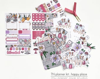 MONTHLY TN Traveler Notebook Kit / Planner Stickers / PaperClip Page Marker : Happy Place (August/September)