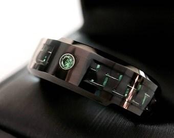 Men Wedding Band, Green Carbon Fiber Inlay Tungsten Ring, His Promise Ring, Mens Tungsten Wedding Bands, Engagement Ring, Anniversary Ring