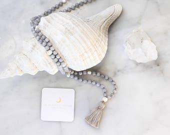 Dream Mala (grey)- mala beads, mala necklace, tassel necklace, mala, mala beads necklace, tassel necklaces, beaded necklace, mala beads 108