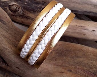 Bracelet cuff Athéna white and gold leather Boho jewelry By Dodie