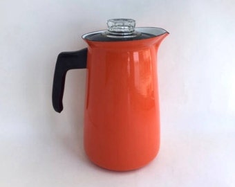 Brilliant Orange Porcelain Enamel Coffee Pot