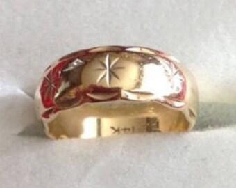 Vintage Estate 14K Yellow Gold Wide Starburst Design Wedding Ring Band, US Size 4.5