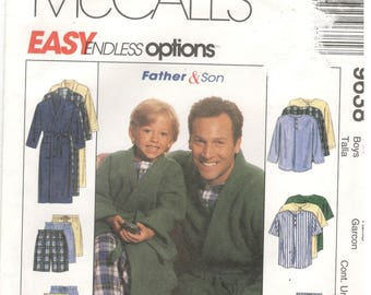 McCall's 9638 Boys Sizes 3, 4, 5, 6, 7, 8 Boys pajama pattern.  Long / short sleeve top and long pants / shorts, house coat / robe with belt