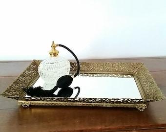 Vanity Mirror Tray, Gold Vanity Mirror Tray, Perfume Tray, Mirror Tray, Vintage Vanity Mirror Tray