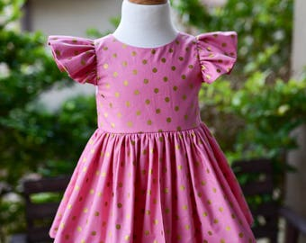 Ready to Ship! Size 2T Pink and Metallic Gold Dots Leighton Dress