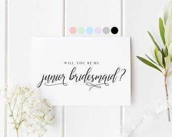 Will You Be My Junior Bridesmaid, Card For Junior Bridesmaid, Junior Bridesmaid Proposal Card, Bridesmaid Request Card, My Junior Bridesmaid