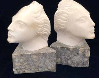 Art Deco White Marble Bookends