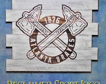 Atlanta Braves ~ WhiteWash ~ , Burnt wall hanging, 30X23, Shou Sugi Ban, Sports sign, Man cave, Rustic, Pallets, Wood Sports sign