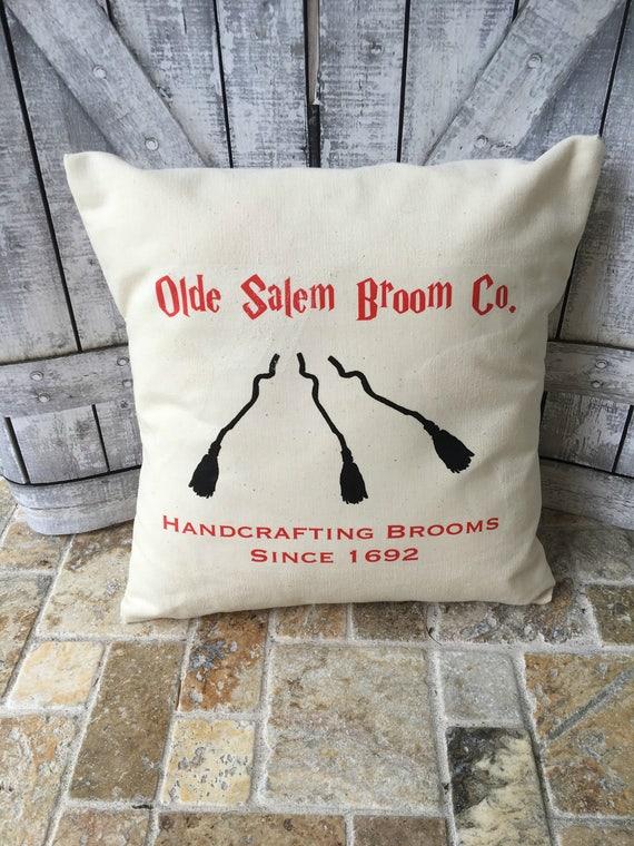 Old Salem Broom Co. Halloween Decorative Canvas Pillow, Rustic Halloween Decor, Rustic Accent Pillow,Fall Throw Pillow, Autumn Accent Pillow