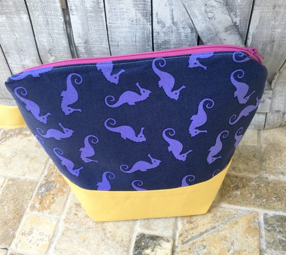 Project Bag,Small knitting Project bag,Seahorse knitting bag,Sock Bag,crochet project ,knitting bag,Toad Hollow Bag,Wedge Bag,Knitter gift