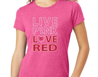 Women's Nebraska Huskers Live Pink Love Red Tri-Blend Tee Shirt Cornhusker Ladies Apparel Husker Gear Breast Cancer Awareness T-Shirt