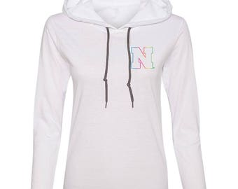 Women's Nebraska Rainbow Outline N Long Sleeve Hooded Tee Shirt Hoody With Relaxed Unlined Hood With Contrasting Drawcord
