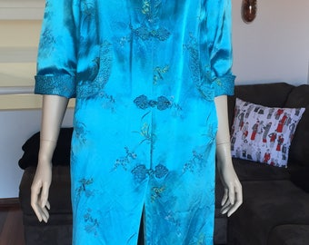 Original 60s Shanghai Embroidered Apple Blossom Blue Robe Dressing Gown