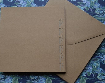 Set of 8 cards and envelopes bamboo paper 15x15cm