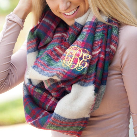 Monogrammed Blanket Infinity Scarf Plaid Infinity Scarf Personalized Embroidered Scarf Winter Accessories Pink and Green Plaid Scarf