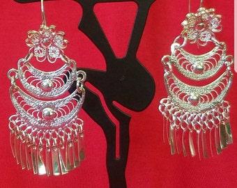 Silver plated filigree earrings