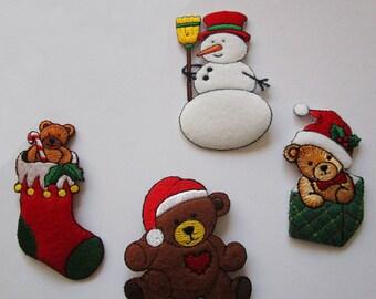 Set of (4) CHRISTMAS Felt Embroidered Applique Lot~ Snowman, Bear, Stocking, Santa Hat