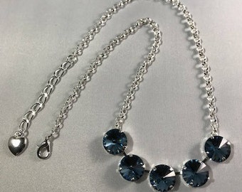 Swarovski Denim Blue Crystal Rolo Necklace