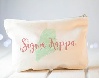 Sorority Gift, Sigma Kappa, Live With Heart, Big Little Sorority, Makeup Bag, Personalized Zipper Pouch, Greek Letters, Custom Name Gift