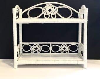 White Wicker Rattan Shelf Shelves Shelving Vintage Two Tier Freestanding or Hanging Bohemian Scroll Design Wall Decor