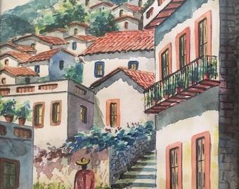 Original Watercolor Paintings Artwork by Salgado Spanish Street Scene Art of Spain Village Life Velvet Frame