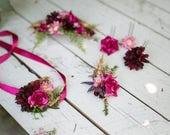Set of wedding accessories Flower bridal set Set with pink-green combination Hair comb Corsage for groom Bracelet Hairpins