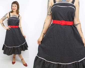 Vintage 70's Black Sundress with Polka Dots / 1970's Sundress / Women's Size Large