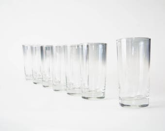 1950s Luster Gray Drinking Glasses Set of 7 - Mid Century - Vintage
