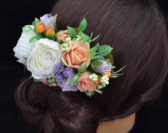 Hair comb Flower hair accessories Wedding flower headpiece Bridal flower accessories Gift for her Bridal hair piece Flower hair comb