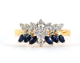 Blue Sapphire Diamond Ring. 14K Yellow Gold Fancy Diamond Ring. Heirloom Ring. Wedding Ring. Alternative Engagement Ring. Gifts for Her