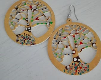tree of life earrings hand-painted original wooden pieces