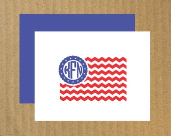 Patriotic Note Cards, Set of 10, Flag Monogram, Flag Note Cards, Thank You Cards, Patriotic Monogram, Monogram Note Cards, Stars and Stripes